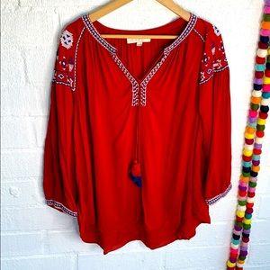 Ann Taylor Loft Embroidered V Neck Blouse sz XL